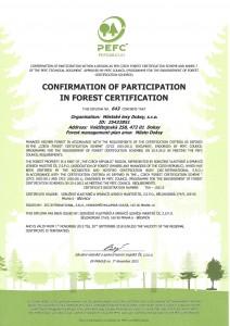 Certifikát PEFC anglicky